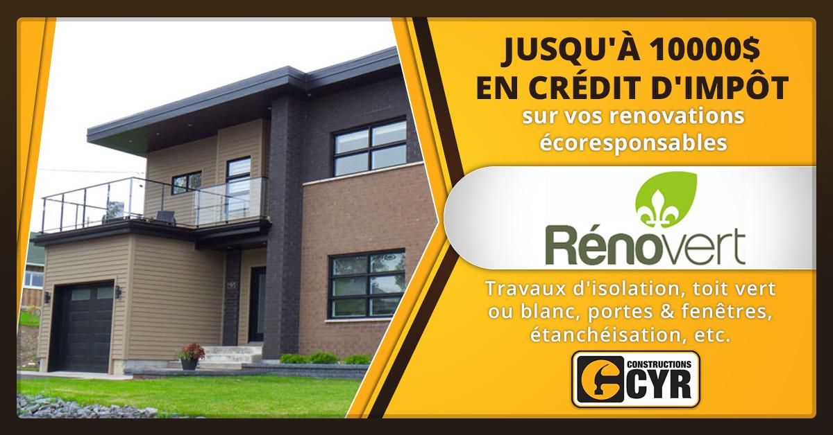 Crédit d'impôt RénoVert pour vos rénovations écologiques