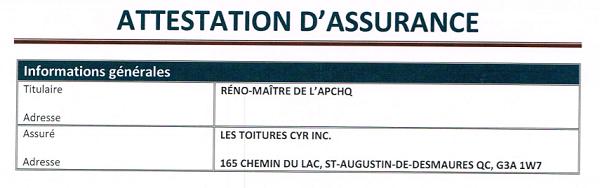 attestation assurance apchq constructions cyr